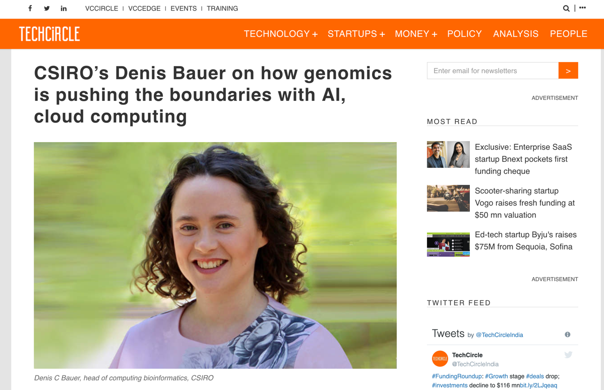 TechCircle: CSIRO's Denis Bauer on how genomics is pushing the boundaries with AI, cloud computing