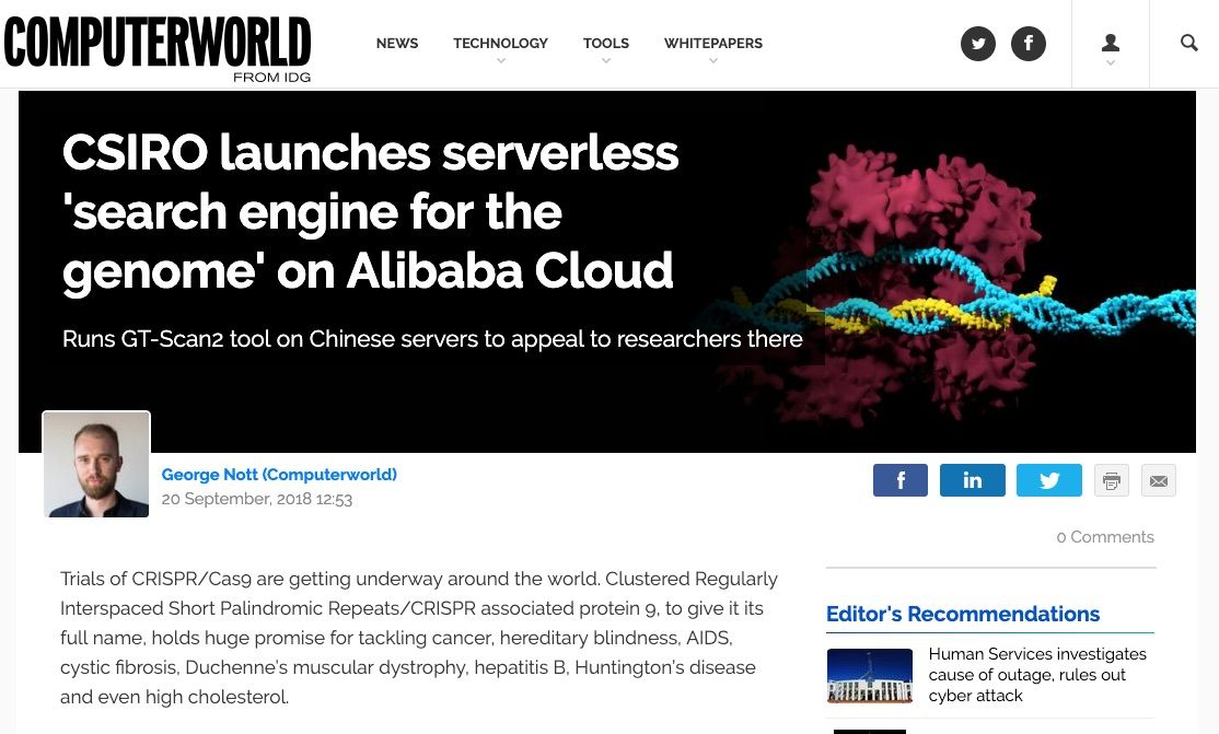 ComputerWorld: CSIRO launches serverless 'search engine for the genome' on Alibaba Cloud