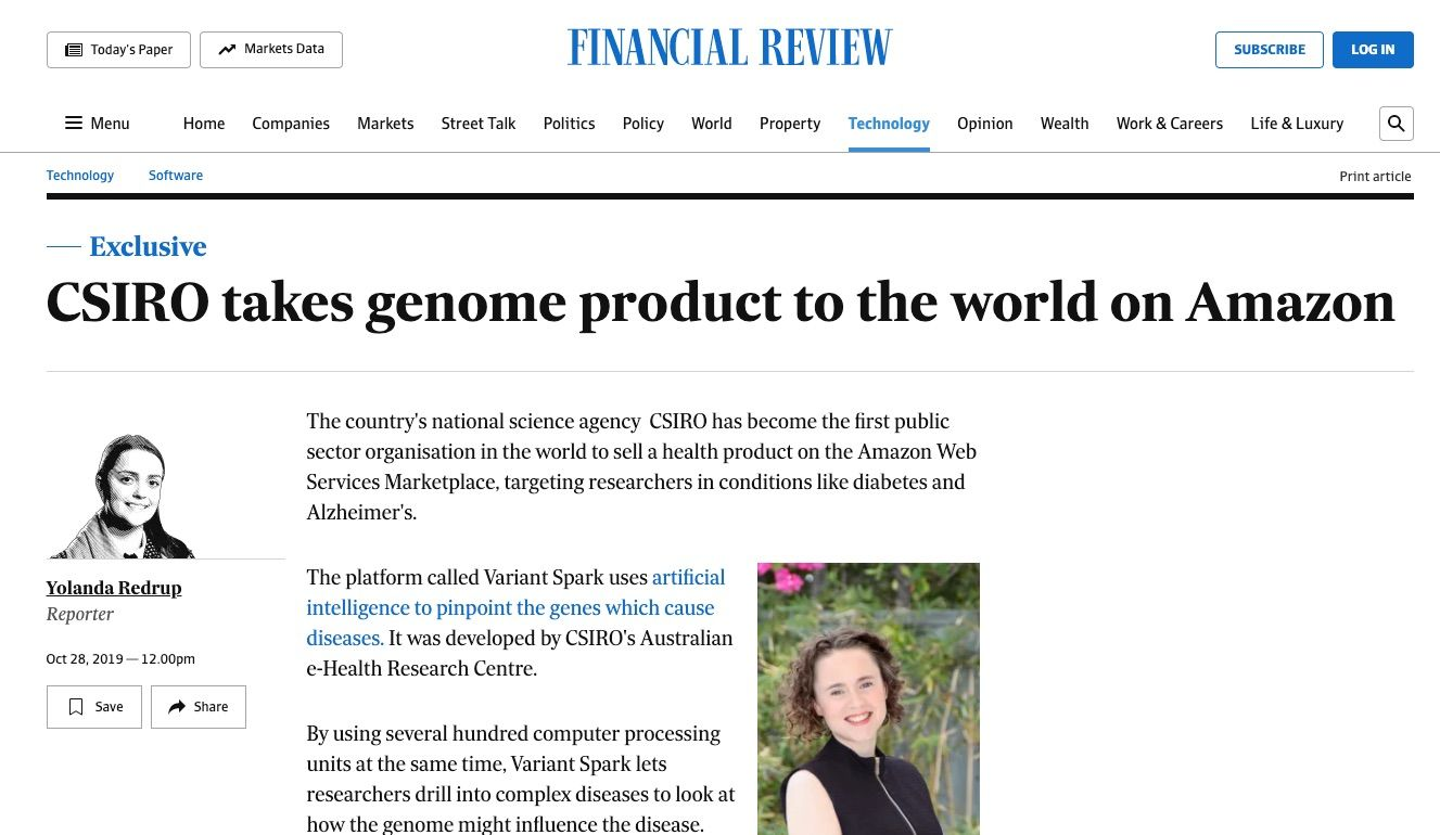 AFR:CSIRO takes genome product to the world on Amazon