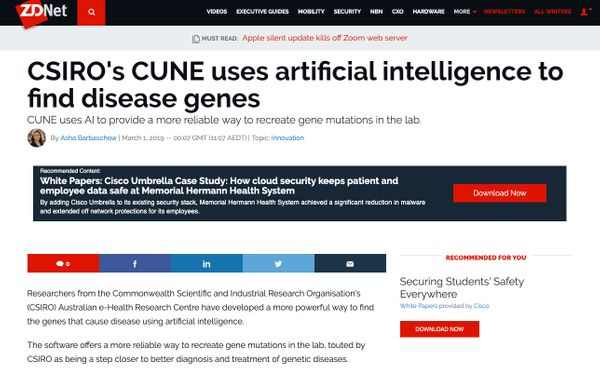 ZDNet: CSIRO's CUNE uses artificial intelligence to find disease genes