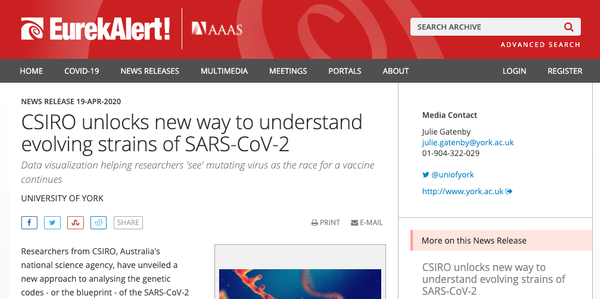 EurekAlert!: CSIRO unlocks new way to understand evolving strains of SARS-CoV-2