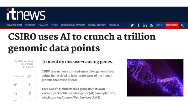 itNews: CSIRO uses AI to crunch a trillion genomic data points
