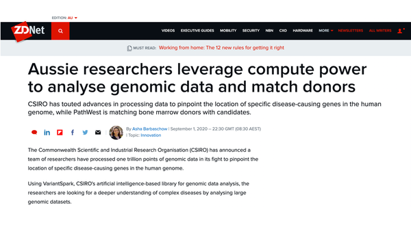 ZDNet: Aussie researchers leverage compute power to analyse genomic data and match donors